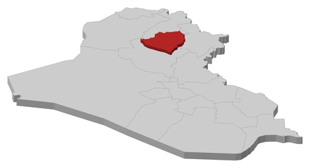 western asia: Political map of Iraq with the several governorates where Kirkuk is highlighted. Illustration