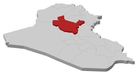 din: Political map of Iraq with the several governorates where Salah ad Din is highlighted.