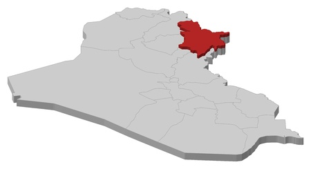 southwestern asia: Political map of Iraq with the several governorates where Sulaymaniyah is highlighted.
