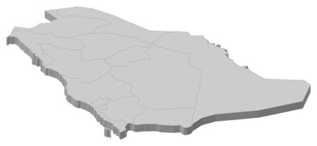 Political map of Saudi Arabia with the several provinces. Vector