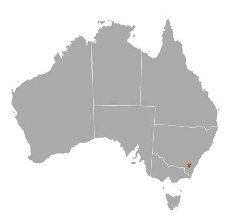 australie: Political map of Australia with the several states where Capital Territory is highlighted.