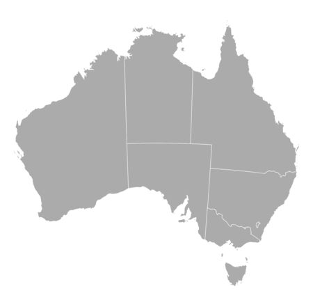 frontiers: Political map of Australia with the several states. Illustration