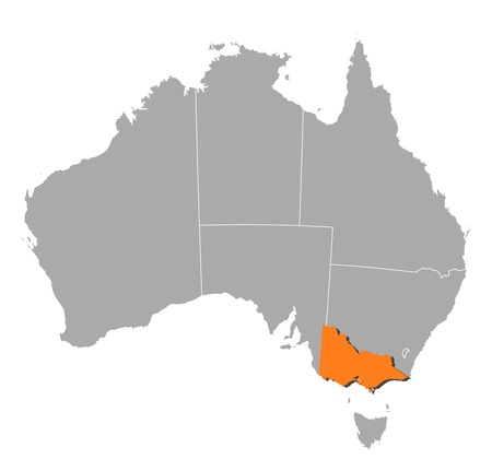 emphasize: Political map of Australia with the several states where Victoria is highlighted. Illustration