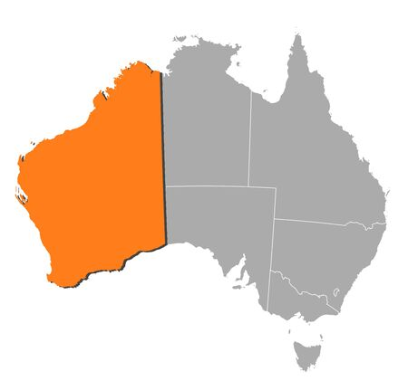 western australia: Political map of Australia with the several states where Western Australie is highlighted.