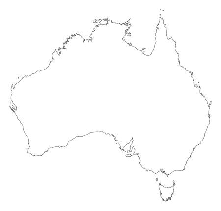 contorno: Mapa pol�tico de Australia con los diversos estados.