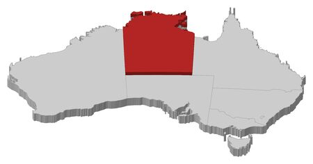 australie: Political map of Australia with the several states where Northern Territory is highlighted. Illustration