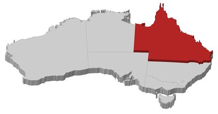 Political map of Australia with the several states where Queensland is highlighted. Vector