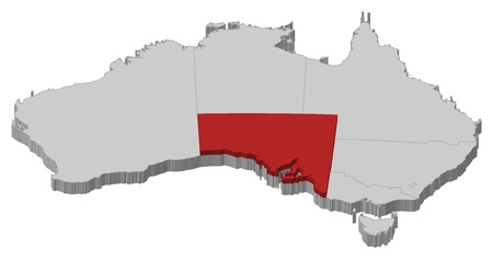 australie: Political map of Australia with the several states where South Australie is highlighted. Illustration