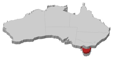 tasmania: Political map of Australia with the several states where Tasmania is highlighted.
