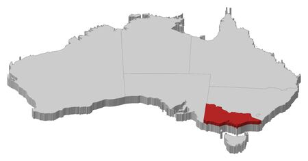 Political map of Australia with the several states where Victoria is highlighted. Illustration