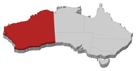 australie: Political map of Australia with the several states where Western Australie is highlighted.