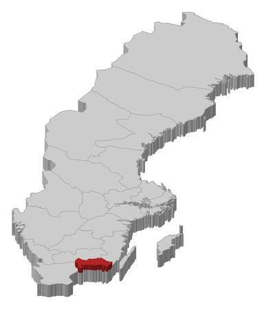 Political map of Sweden with the several provinces where Blekinge County is highlighted.