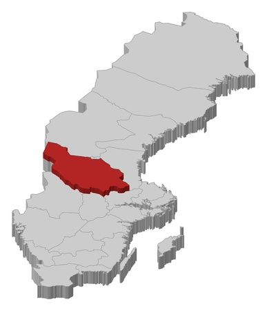 laen: Political map of Sweden with the several provinces where Dalarna County is highlighted. Illustration