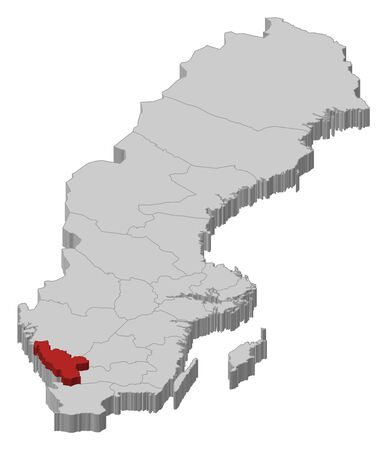 laen: Political map of Sweden with the several provinces where Halland County is highlighted.