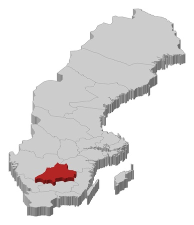 Political map of Sweden with the several provinces where Jönköping County is highlighted.