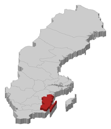 Political map of Sweden with the several provinces where Kalmar County is highlighted.