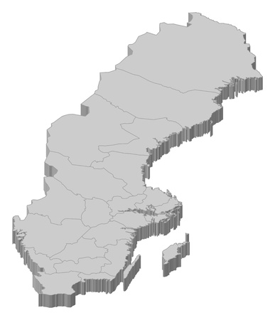 Political map of Sweden with the several provinces. Vector