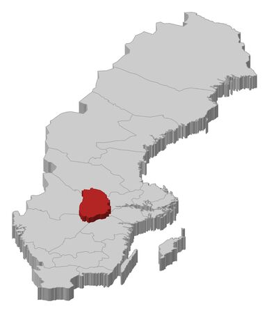 laen: Political map of Sweden with the several provinces where �rebro County is highlighted.