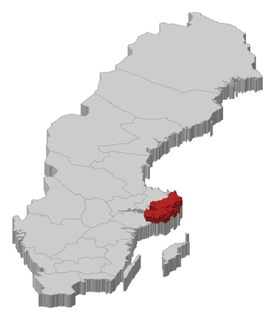 laen: Political map of Sweden with the several provinces where Stockholm County is highlighted. Illustration