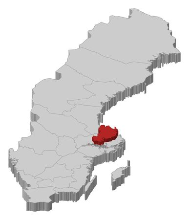 Political map of Sweden with the several provinces where Uppsala County is highlighted.