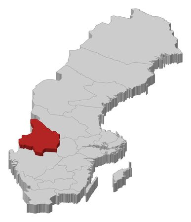Political map of Sweden with the several provinces where Värmland County is highlighted. Illustration