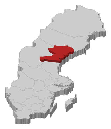 Political map of Sweden with the several provinces where Västernorrland County is highlighted.