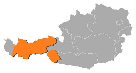 tyrol: Political map of Austria with the several states where Tyrol is highlighted.