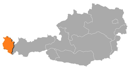 Political map of Austria with the several states where Vorarlberg is highlighted. Illustration