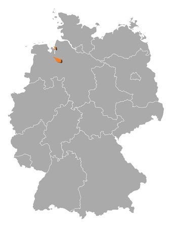 bremen: Political map of Germany with the several states where Bremen is highlighted.