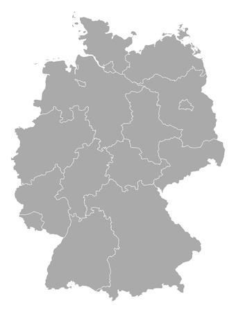 Mapa político de Alemania, con los diversos estados. Ilustración de vector
