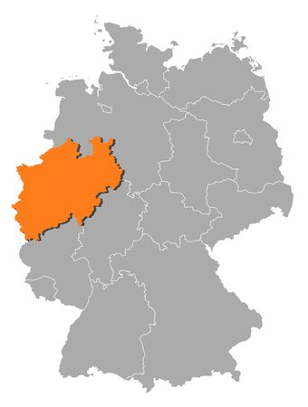 Political map of Germany with the several states where North Rhine-Westphalia is highlighted. Stock Vector - 11241458