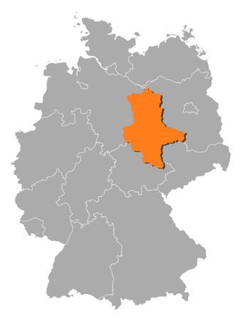 Political map of Germany with the several states where Saxony-Anhalt is highlighted. Stock Vector - 11241453