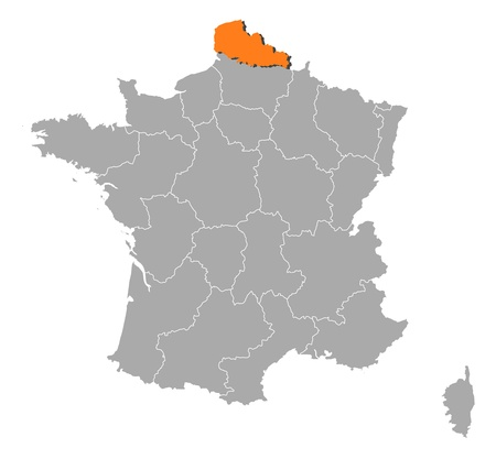 highlighted: Mappa politica della Francia con le varie regioni in cui si evidenzia Nord-Pas-de-Calais.