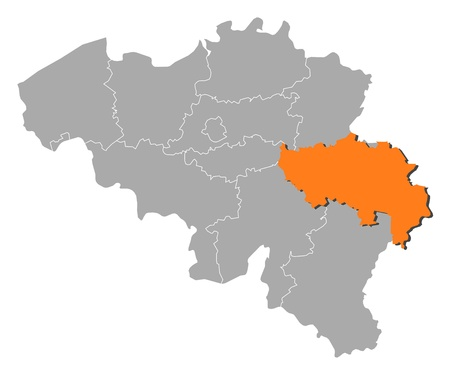 Political map of Belgium with the several states where Liège is highlighted.