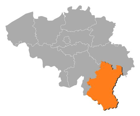 Political map of Belgium with the several states where Luxembourg is highlighted.