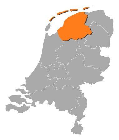 Political map of Netherlands with the several states where Friesland is highlighted. Ilustrace