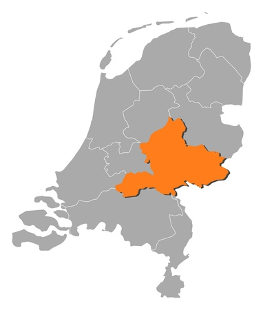 Political map of Netherlands with the several states where Gelderland is highlighted.