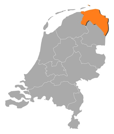 groningen: Political map of Netherlands with the several states where Groningen is highlighted.