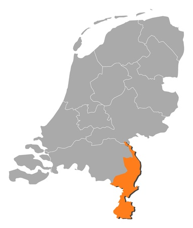 limburg: Political map of Netherlands with the several states where Limburg is highlighted. Illustration