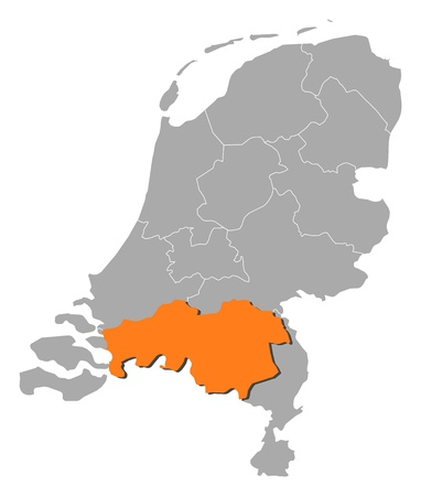 north brabant: Political map of Netherlands with the several states where North Brabant is highlighted.