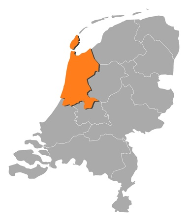nederland: Political map of Netherlands with the several states where North Holland is highlighted. Illustration