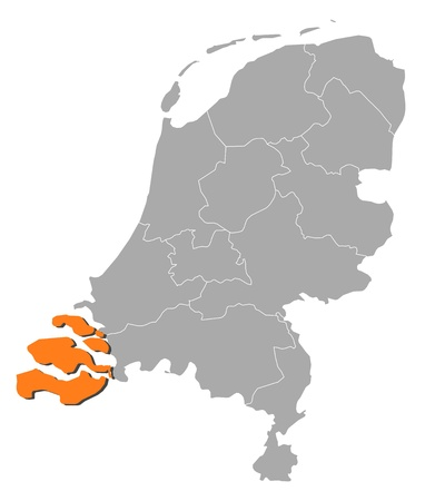 zeeland: Political map of Netherlands with the several states where Zeeland is highlighted.