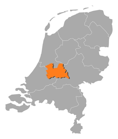 Political map of Netherlands with the several states where Utrecht is highlighted.