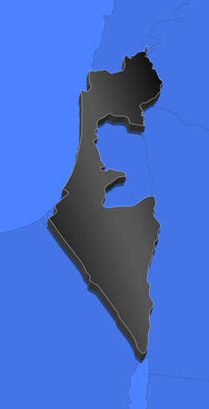 Political map of Israel with the several districts. Illustration