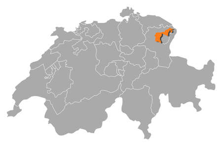 swizerland: Political map of Swizerland with the several cantons where Appenzell Ausserrhoden is highlighted. Illustration