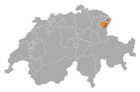 schweiz: Political map of Swizerland with the several cantons where Appenzell Innerrhoden is highlighted.