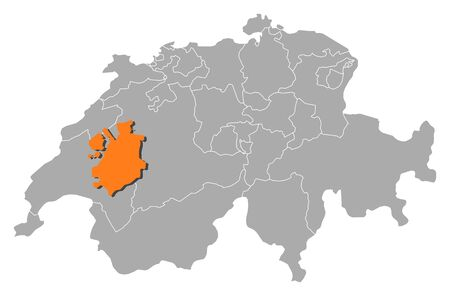 cantons: Political map of Swizerland with the several cantons where Fribourg is highlighted. Illustration
