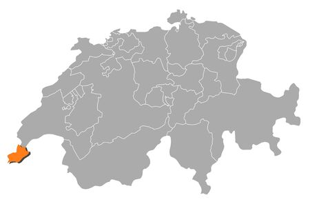 schweiz: Political map of Swizerland with the several cantons where Geneva is highlighted. Illustration