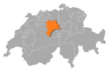 cantons: Political map of Swizerland with the several cantons where Lucerne is highlighted.