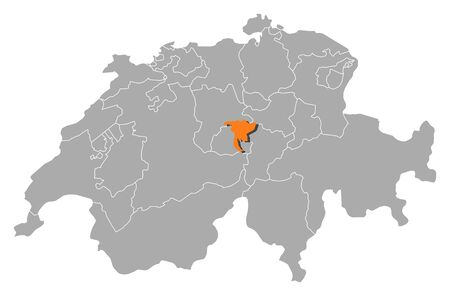 schweiz: Political map of Swizerland with the several cantons where Nidwalden is highlighted.
